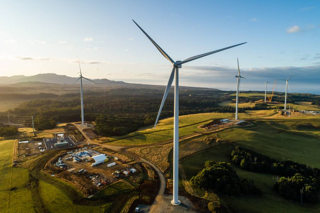TURBINES TURNING: Only two of the 31 turbines at the Granville Harbour Wind Farm are yet to be completed. Picture: Supplied