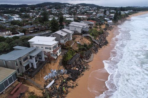 Terrigal Beach at Wamberal on NSW Central Coast. An east coast low has started to bring powerful and large surf conditions to an already badly damaged coastline