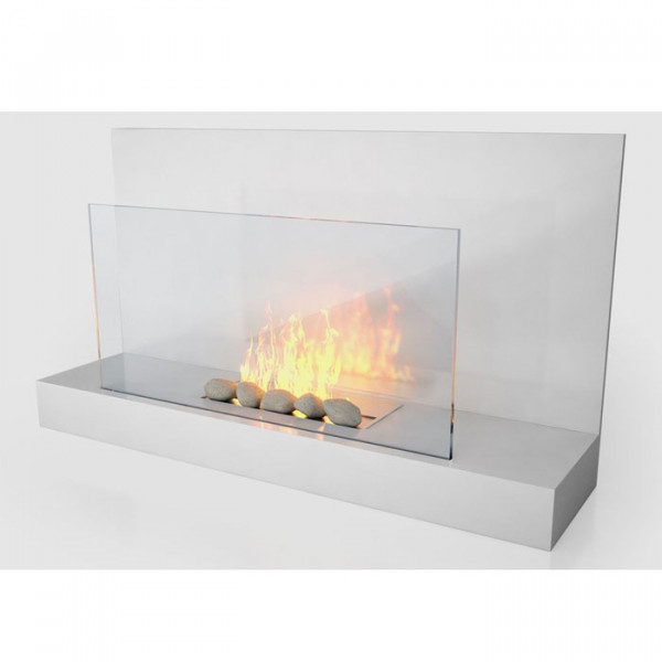 The Alden 900mm Wall Mounted Bio Ethanol Fire, White - Stoves Are Us