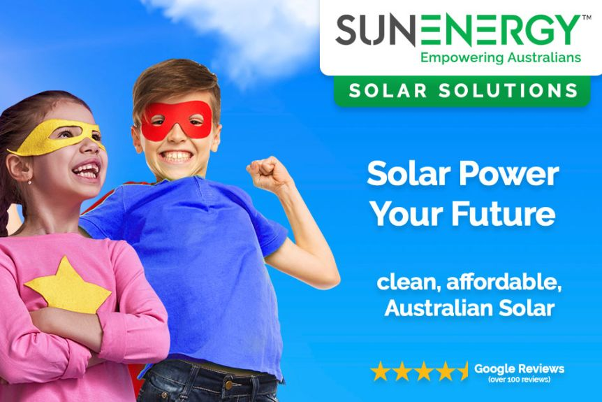 SunEnergy solar ad featuring two children wearing superhero capes and masks