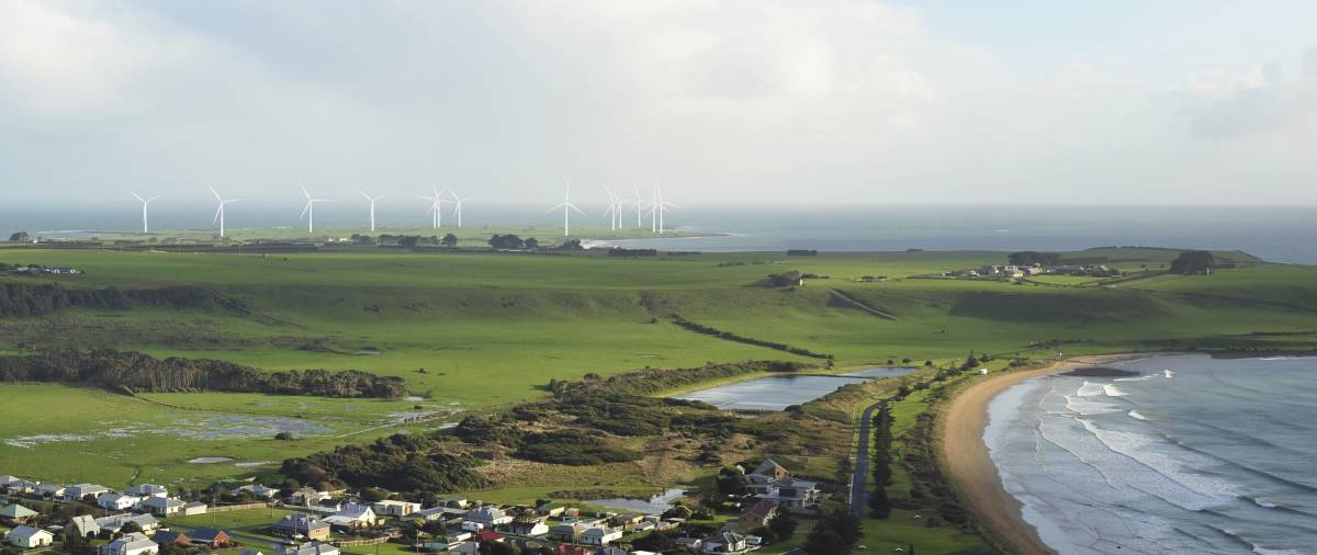 THE VIEW: The turbines from the Western Plains Wind Farm would be clearly visible from the top of The Nut as shown by this artist's rendition. Picture: Supplied