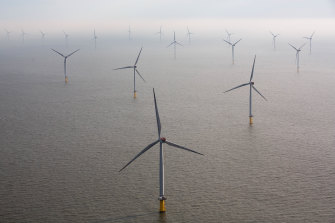 Rapid growth: Wind turbines sit in the North Sea at the London Array offshore wind farm in the Thames Estuary, UK.