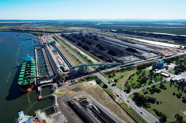 Aerial view of Newcastle's NCIG third coal loader