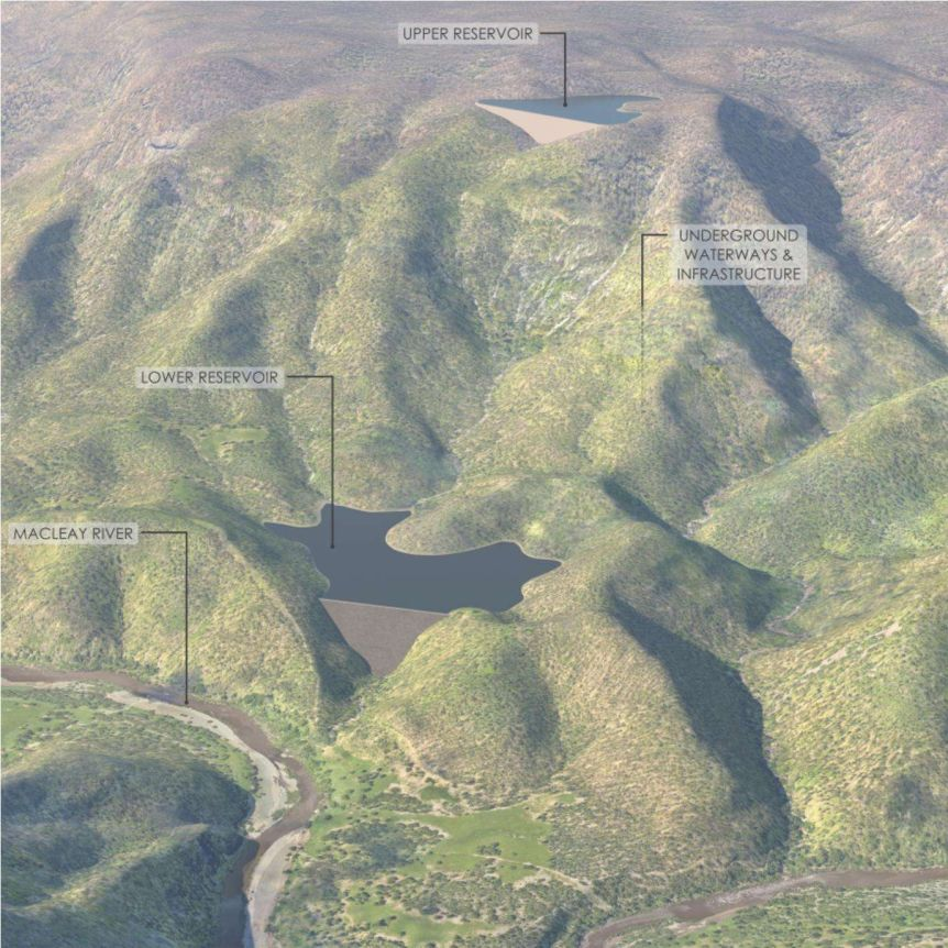 A topographic image of a mountainous area where a new underground power station will be built.